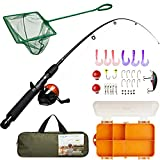 Lanaak Kids Fishing Pole and Tackle Box - with Net, Travel Bag, Reel and Beginner's Guide - Rod and Reel Kit for Boys, Girls, or Youth