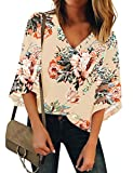 Luyeess Women's Casual V Neck Loose Mesh Panel Chiffon 3/4 Bell Sleeve Blouse Top Shirt Tee Dark Apricot Floral, Size S(US 4-6)
