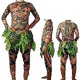 WEEOH Moana Maui Tattoo T Shirt/Pants Halloween Cosplay Costume Maui Costume Adult Men (Brown, XL)