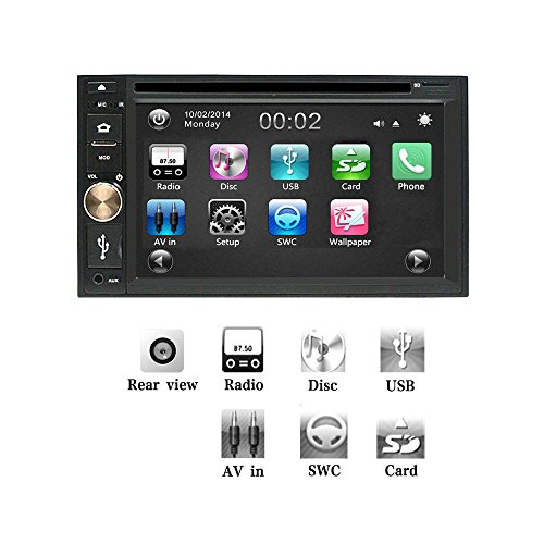Ezonetronics Car DVD CD MP3 Player AM/FM Car Stereo Radio Hands Free USB/SD Universal Player TFT capacitive Touch Screen Support Back Camera Input and Steering Wheel Control DV0354
