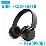 SoundBot SB250 Stereo Bluetooth Wireless Speaker Headphone, Foldable Design 3.5mm AUX Audio Port (Cable Included)
