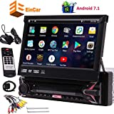 EINCAR 7' HD Car DVD Player Single Din Android 7.1 Quad Core CPU Car Radio GPS Navigation Receiver with Stereo GPS RDS WiFi OBD SWC Mirror, 1GB RAM 16GB ROM, Bluetooth, External Microphone