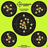 Splatterburst Targets 12 x 12 inch (5) Bullseye Reactive Shooting Target - Shots Burst Bright Fluorescent Yellow Upon Impact - Gun - Rifle - Pistol - AirSoft - BB Gun - Air Rifle (50 pack)
