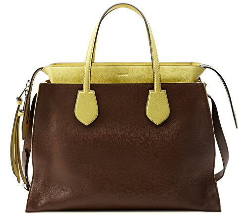 51N4a2%2B9jGL Made In Italy Nut Brown Leather With Yellow Leather Detail / Interior Zip And Smartphone Pockets Palladium Hardware / Tone-On-Tone Leather Lining