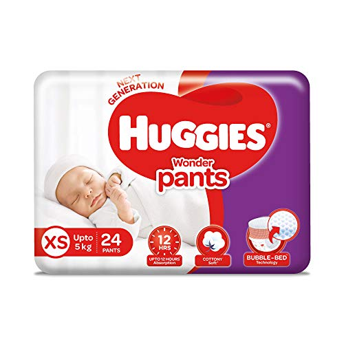51N4qWvNiRL Huggies Marvel Pants Additional Small / New Born (XS / NB) Dimension Diaper Pants, 24 Depend, With Bubble Mattress Expertise For Consolation