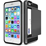 iPhone 6S Case, iPhone 6 Case, tekSonic [Card Slide][Dark Silver] - [Card Slot][Drop Protection][Heavy Duty][Wallet] - Case Cover For Apple iPhone 6 and iPhone 6S 4.7' Devices (Gunmetal)