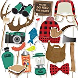 Camping Photo Booth Props by Paper and Cake - 18 piece set