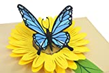 PopLife Blue Butterfly on Yellow Sunflower 3D Pop Up Mother's Day Card - Anniversary Pop Up for Mom, Happy Birthday - Cute Gift for Her - Folds Flat - for Sister, for Daughter, for Wife, for Grandma