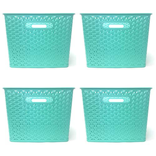 Clever Home Basket Weave Plastic Storage Bin Set of 4 (13.75 x 11 x 9, Teal)