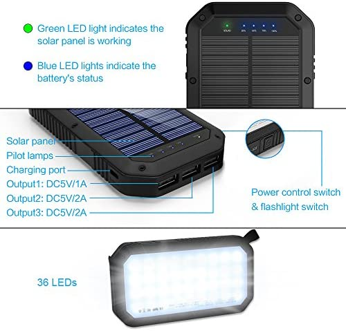 Solar Charger 25000mAh, 36 LEDs Emergency Portable Power Bank Solar Battery Charger with 3 Output Ports External Battery Pack Camping Accessories Solar Phone Charger for Cell Phones