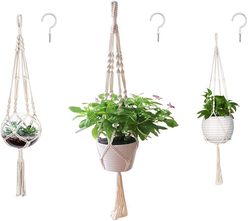 Amazon Com Aomgd 3 Pack Macrame Plant Hanger And 3 Pcs Hooks Indoor Outdoor Hanging Plant Holder Hanging Planter Stand Flower Pots For Decorations Cotton Rope 4 Legs 3 Sizes Garden Outdoor