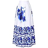 CHICING Fashion Women's White Contrast Polka Dot Floral Print Long Maxi Skirts (XL, White10)