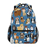 ZZKKO Cute Animal Dogs Boys Girls School Computer Backpacks Book Bag Travel Hiking Camping Daypack