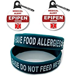 I HAVE FOOD ALLERGIES Allergy Bracelet for Kids Teal 2pcs Toddler Size/Medical Alert Epipen Inside Bag Tag 2pcs