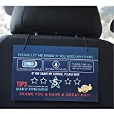 LOTUS-A Rating Tips Accessories Rideshare Driver Signs - Large 9x6 Inch Premium Thick Laminate 20 Mil Durable Backseat Headrest Display Card (Pack of 2) - All You Need for Your Business