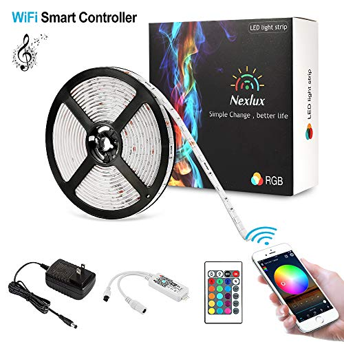 Led Light Strip,Nexlux WiFi Wireless Smart Phone Controlled Strip Light Kit White PCB 5050 LED Lights,Working with Android and iOS System,IFTTT
