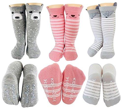 Baby Girl Knee High Long Socks Non Slip Toddler 12-36 Months Anti Slip Non Skid Leg Warmer Baby Socks, Best Gifts for 1-3 Year Old Girl from Tiny Captain (Pink, Small)