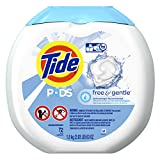 Tide PODS Free & Gentle HE Turbo Laundry Detergent Pacs, Unscented, 72 Count Tub