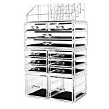 hblife Makeup Organizer Acrylic Cosmetic Storage Drawers and Jewelry Display Box with 12 Drawers, 9.5' x 5.4' x 15.8', 4 Piece