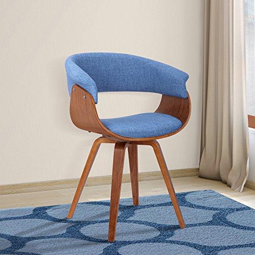 Armen Living Summer Modern Chair in Green Fabric and Walnut Wood 1
