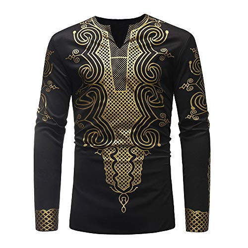 Shirts for Men, Simayixx Men's Luxury African Print Black White Pullover Sweaters Slim Sexy V-Neck Blouse Tops