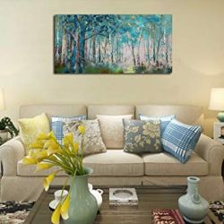 Ardemy Canvas Wall Art Blue Tree Forest Landscape Picture Prints, Modern Birch Trees Nature Woods Abstract Painting Artwork 40″x20″ Wood Gallery and Framed for Home Office Living Room Bedroom Decor