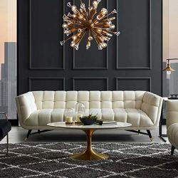 Modway Adept Contemporary Mid-Century Modern Performance Velvet Upholstered Tufted Sofa in Ivory