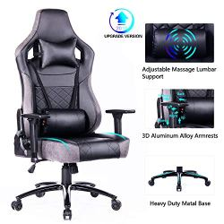 Blue Whale Big and Tall Gaming Chair with Massage Lumbar Support,Metal Base and 3D Aluminum Alloy Armrest Racing PC Computer Video Game Chair High Back PU Leather Office Desk Chair with Headrest Grey