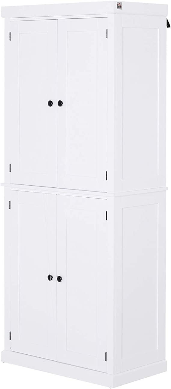 Homcom Traditional Farmhouse Kitchen Pantry Cupboard With Two Storage Cabinets And 4 Adjustable Shelves White Furniture Decor Amazon Com