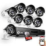 XVIM 720P Outdoor Home Security Camera System - 8 Channel 1080N Wired DVR 1TB Hard Drive 8 HD Bullet Surveillance Cameras with Night Vision and Motion Detection