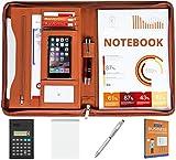 Cossini Premium PU Leather Business Portfolio/Padfolio with Zippered Closure and Interior 10.1 Inch Tablet Sleeve (Bonus: Writing Pad, Calculator, Pen & eBook)