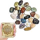 Crocon 25 Pcs Mix Chakra Balancing Rune Stones Set Reiki Healing Engraved Gemstone Energy Generator Kit for Aura Cleansing & EMF Protection Size 15-20 mm