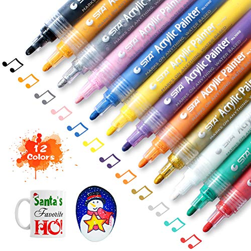 Acrylic Paint Marker Pens by SOLEDI Water-Based Acrylic Permanent Paint Pens for Painting on Rock, Glass, Canvas, Fabric, Metal, Wood, Ceramic, Mugs, DIY Craft Projects, Set of 12 Colors