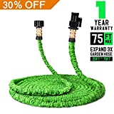 Garden Hose - Expandable Water Hose, 75ft Flexible Expanding Hose Pressure Water Hose with 3/4' Brass Fittings & Triple Layer Latex Core & Latest Improved Extra Strength Fabric