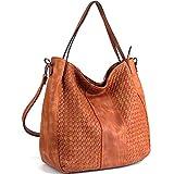 WISHESGEM Women Handbags Top-Handle Fashion Hobo Tote Bags PU Leather Shoulder Satchel Bags Brown,Medium