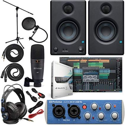 Presonus-AudioBox-96-Audio-Interface-Full-Studio-Bundle-with-Studio-One-Artist-Software-Pack-wEris-35-Pair-Studio-Monitors-and-14-TRS-to-TRS-Instrument-Cable