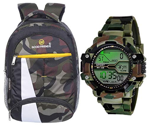 Good Friends Waterproof,Laptop College School Bag for Boys + Digital Watches Combo (Military +Green)