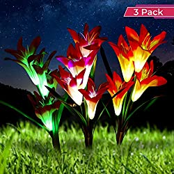 Optimal Home Living Solar Garden Stake Light 3 Pack Lily Light for Outdoor Landscape Lighting | Decorative Garden Lighting Turns Your Lawn into Art | LED Flower Lights for Illuminating at Night