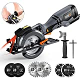 TACKLIFE Circular Saw with Metal Handle, 6 Blades(4-3/4' & 4-1/2'), Laser Guide, 5.8A, Max Cutting Depth 1-11/16'' (90°), 1-3/8'' (0°-45°), Ideal for Wood, Soft Metal, Tile and Plastic Cuts - TCS115A