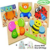 Diojilad Wooden Jigsaw Puzzles for Toddlers Educational Toys for 1 2 3 Years Old, Color Shapes Cognition Skill...