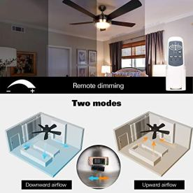 Hykolity 52 Inch Indoor Brushed Nickel Ceiling Fan With Dimmable Light Kit And Remote Control Modern Style Lifetime Motor Warranty Reversible Blades Etl For Living Room Bedroom Basement Kitchen Priparax Com