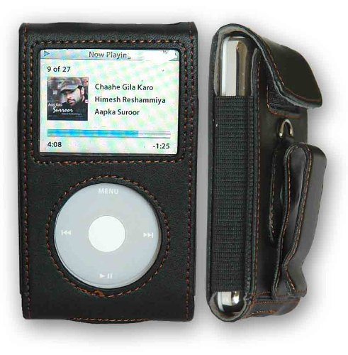CrazyOnDigital Premium Black Leather Case Apple iPod Video/Classic. CrazyOnDigital Retail Package