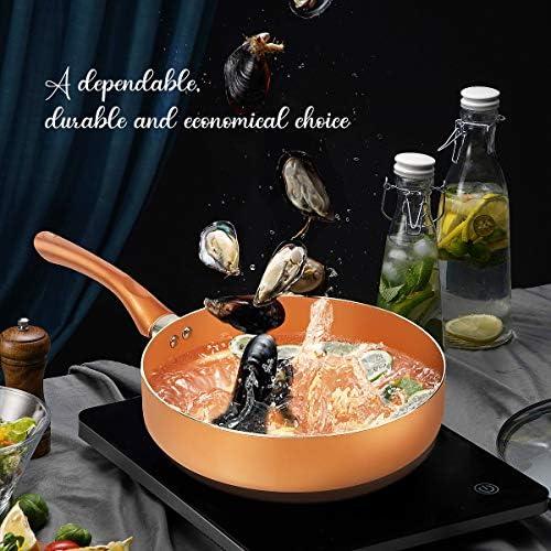 KUTIME 10pcs Cookware Set, Pots and Pans Set, Non-stick Frying Pan Set Copper Ceramic Coating Stock Pot, Sauce Pans, Deep Saute Pan with Lid, Gas, Induction Compatible
