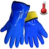 FrogWear 8490 Insulated & Waterproof Blue Tripple Dipped Work Gloves, Ultra Flexible, Chemical and Oil Resistant, Sizes M-XL (1 Pair) (Large)