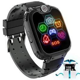 "Kids Game Smart Watch Phone – 1.54"" Touch Screen Game Smartwatches with [1GB Micro SD Card] Call SOS Camera 7 Games Alarm Clock Music Player Record for Children Boys Girls Birthday Gifts 3-10(Black)"
