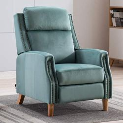 Artechworks Velvet Manual Pushback Recliner Chair for Living Room – Single Sofa Home Theater Seating for Small Spaces – Comfortable Bedroom & Living Room Chair Reclining Sofa, Teal Green