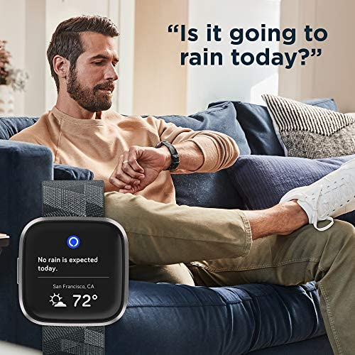 51NZsjxgAKL. AC  - Fitbit Versa 2 Special Edition Health & Fitness Smartwatch with Heart Rate, Music, Alexa Built-in, Sleep & Swim Tracking, Smoke Woven/Mist Grey, One Size (S & L Bands Included)