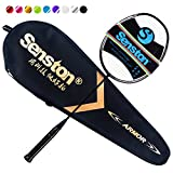 Senston N80 Badminton Racket Single High-Grade Badminton Racquet Carbon Fiber Badminton Racket Black with Racket Cover