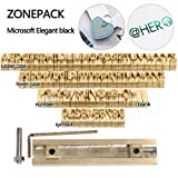 ZONEPACK Copper Brass Stamping Flexible Letters Numbers Alphabets Symbols Characters Molds CNC Engraving Molds for Hot Foil Stamping Machine (Microsoft Elegant Black)