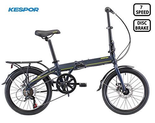 KESPOR K7 Folding Bike for Adults, Women, Men, Rear Carry Rack, Front and Rear Fenders, Shimano 7 Speed Aluminum Easy Folding City Bicycle 20-inch Wheels, Disc Brake